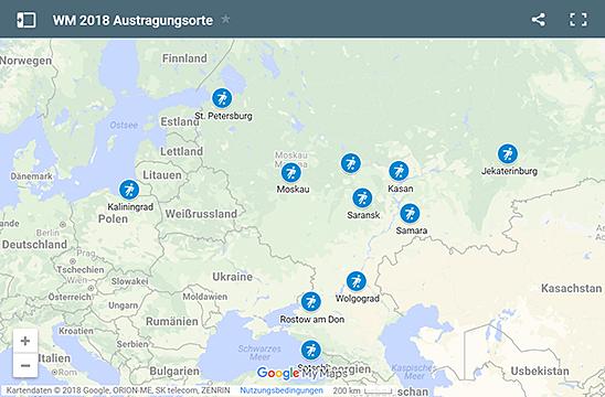 WM 2018 Austragungsorte (Karte)